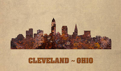 Skyline Mixed Media - Cleveland Ohio City Skyline Rusty Metal Shape On Canvas by Design Turnpike