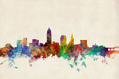 Watercolor Digital Art - Cleveland Ohio Skyline by Michael Tompsett