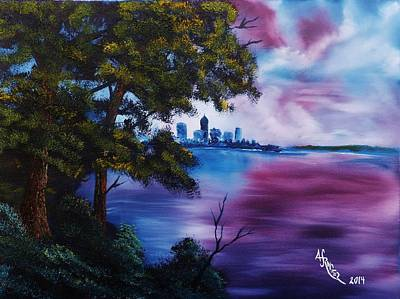 Wet On Wet Painting - Cleveland On Lake Erie Sunset by Alfred Stringer
