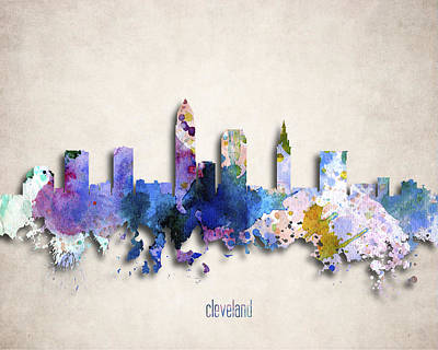 Downtown Cleveland Digital Art - Cleveland Painted City Skyline by World Art Prints And Designs