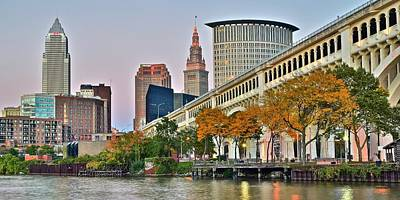 Cleveland Panorama Art Print by Frozen in Time Fine Art Photography