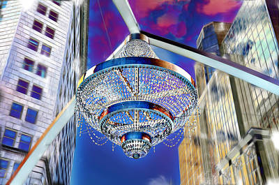 Photograph - Cleveland Playhouse Square Outdoor Chandelier - 1 by Mark Madere