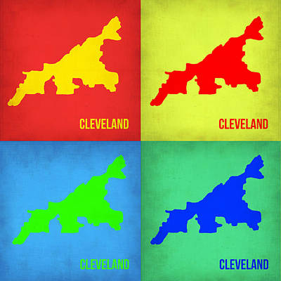 Modern Poster Painting - Cleveland Pop Art Map 1 by Naxart Studio