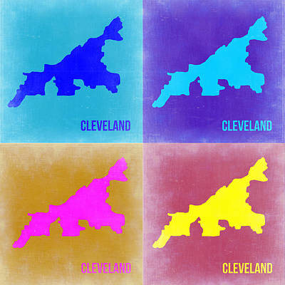 Modern Poster Painting - Cleveland Pop Art Map 2 by Naxart Studio