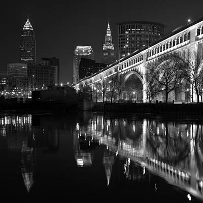 Cleveland Reflections In Black And White Art Print by Clint Buhler