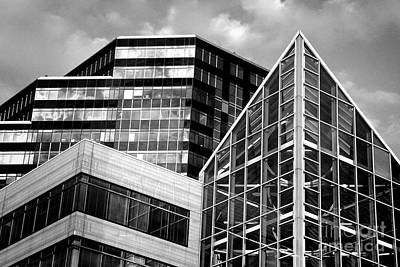 Photograph - Cleveland Sight - Downtown City Buildings Black White Bw by Jon Holiday