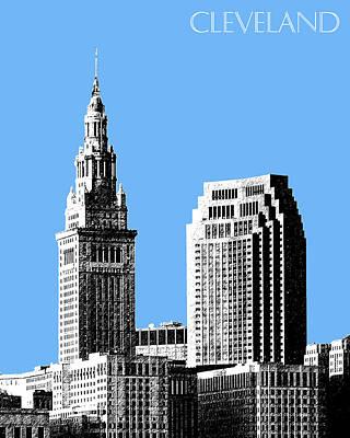 Pen Digital Art - Cleveland Skyline 1 - Light Blue by DB Artist
