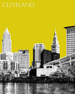 Pen Digital Art - Cleveland Skyline 3 - Mustard by DB Artist