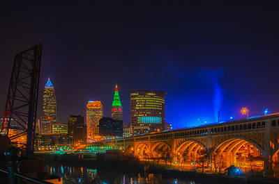Cleveland Skyline At Christmas Art Print