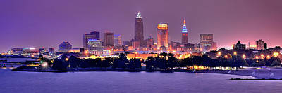 Panoramic Photograph - Cleveland Skyline At Night Evening Panorama by Jon Holiday