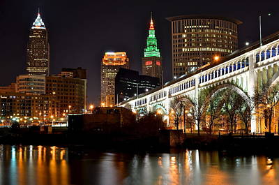 Cleveland Skyline At Night Art Print by Frozen in Time Fine Art Photography