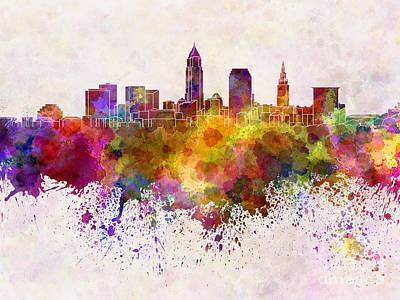 Ohio Painting - Cleveland Skyline In Watercolor Background by Pablo Romero