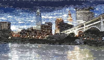 Painting - Cleveland Skyline - Typography by Samuel Majcen