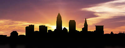 Ohio Photograph - Cleveland Skyline Panorama Sunset by Aged Pixel