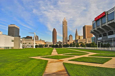 Lebron Photograph - Cleveland Skyline by Frozen in Time Fine Art Photography