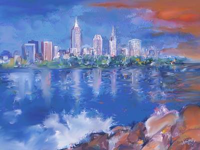 Digital Art - Cleveland View by Mary Armstrong