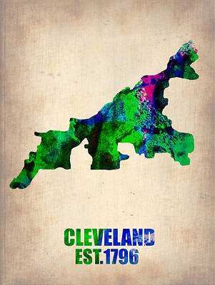 Modern Poster Painting - Cleveland Watercolor Map by Naxart Studio