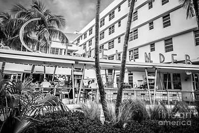 Poolside Photograph - Clevelander Hotel Art Deco District Sobe Miami Florida - Black And White by Ian Monk