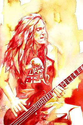 Ba Painting - Cliff Burton Playing Bass Guitar Portrait.1 by Fabrizio Cassetta