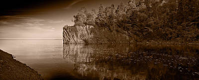 Baptism Photograph - Cliff Face Northshore Mn Bw by Steve Gadomski