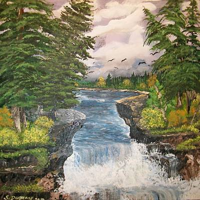Pinetree Painting - Cliff Falls by Sharon Duguay