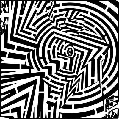 Sports Maze Drawing - Cliff-hanger Maze  by Yonatan Frimer Maze Artist