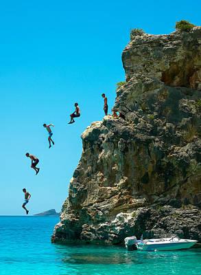 Lefkada Photograph - Cliff Jumping by Marjan Lazarevski