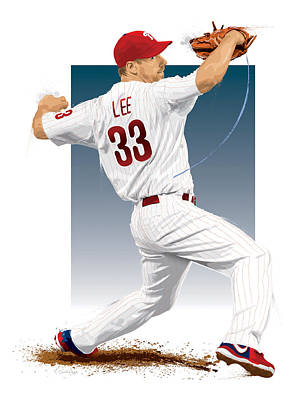 Cliff Lee Art Print by Scott Weigner