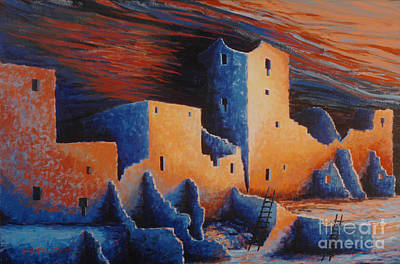 Anasazi Painting - Cliff Palace By Moonlight by Jerry McElroy