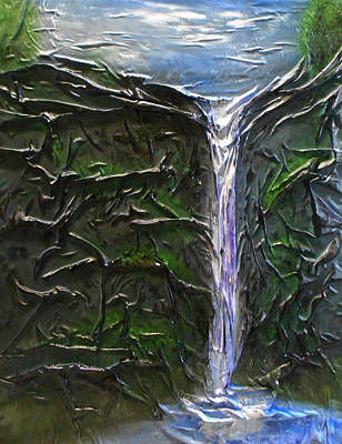 Mixed Media - Cliff Side Waterfall by Angela Stout