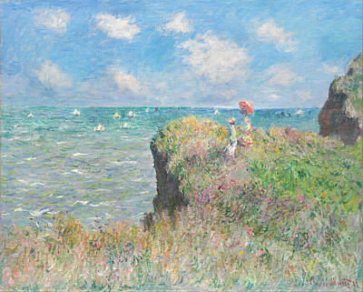 Sailboat Ocean Digital Art - Cliff Walk At Pourville by Claude Monet