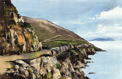 Painting - Cliff Walk Bray Head  Wicklow by Val Byrne