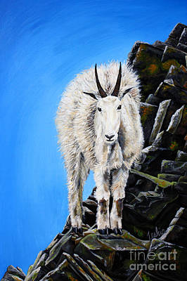 Glacier National Park Painting - Cliffhanger by Teshia Art