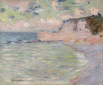 Monet Photograph - Cliffs And The Porte Damont, Morning Effect, 1885 Oil On Canvas by Claude Monet