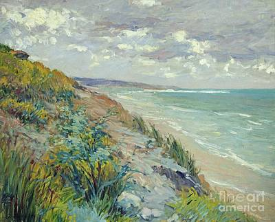 On The Beach Painting - Cliffs By The Sea At Trouville  by Gustave Caillebotte