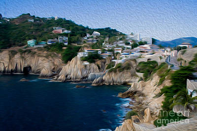 Digital Art - Cliffs In Acapulco Mexico I by Kenneth Montgomery