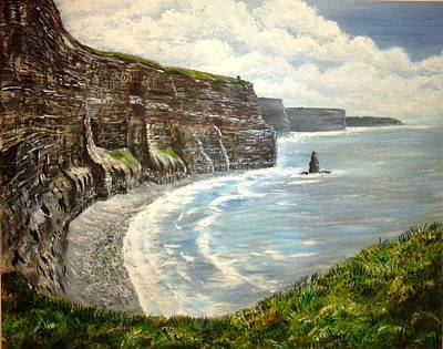 Burren Painting - Cliffs Of Moher Co Clare by Pauline McCarville