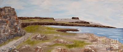 Burren Painting - Cliffs Of Moher From The Burren by Corina Hogan