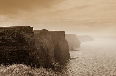 Cliffs Photograph - Cliffs Under The Clouds In Sepia by AMB Fine Art Photography
