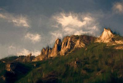 Tan Mixed Media - Cliffs Warmed By Morning Light by John K Woodruff