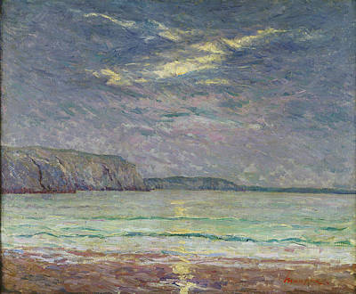 Soleil Couchant Photograph - Cliffs With Setting Sun Oil On Canvas by Maxime Emile Louis Maufra