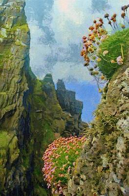 Cliffside Sea Thrift Art Print