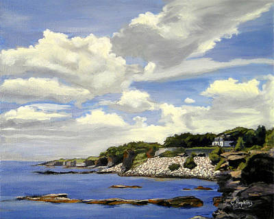Shell Beach Inn Painting - Cliffwalk Newport Rhode Island by Christine Hopkins