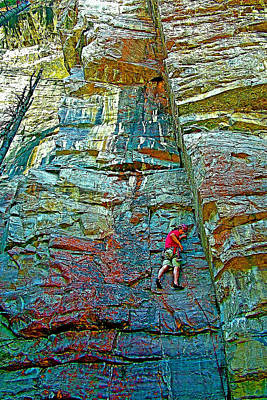Climber Along Trail To Plain Of Six Glaciers In Banff National Park-alberta-canada Original by Ruth Hager
