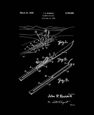 Climber For Skis 1939 Russell Patent Art Art Print