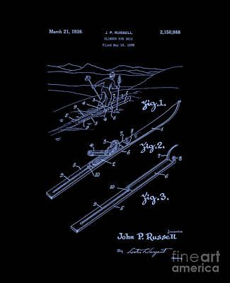 Digital Art - Climber For Skis 1939 Russell Patent Art Neon Blue by Lesa Fine