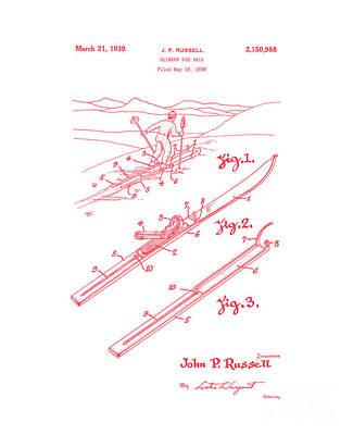 Digital Art - Climber For Skis 1939 Russell Patent Art Red On White by Lesa Fine