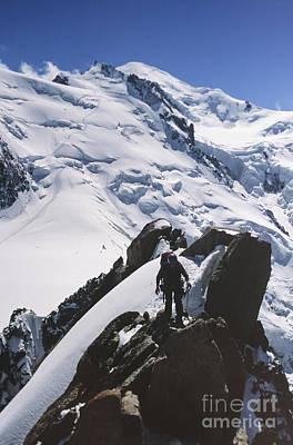 Climber On Mt Blanc In France Art Print by Soren Egeberg