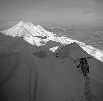 Photograph - T-501301-d-bw-climber On Mt. Mckinley, Ak by Ed  Cooper Photography