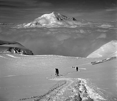 Photograph - T-501315-bw-climbers At 14000 Ft On Mt. Mckinley, Ak by Ed  Cooper Photography